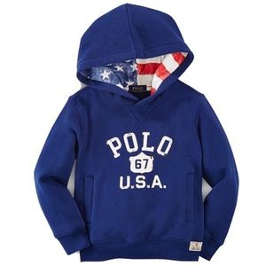 Polo Ralph Lauren USA FLAG Hoodie Sweatshirt Sz 7